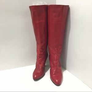 🔥 Vintage Valentina Red Leather boots Sz 7